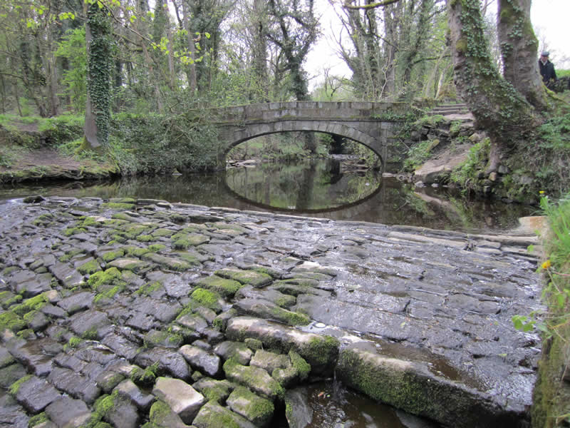 The 18th century Packhorse Bridge and nearby weir. Photo by Sue Shaw, RVCG, 2014.